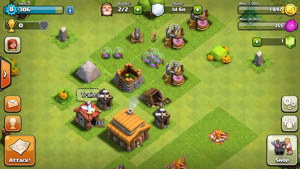 Clash of Clans er et strategispill du kan spille med andre.