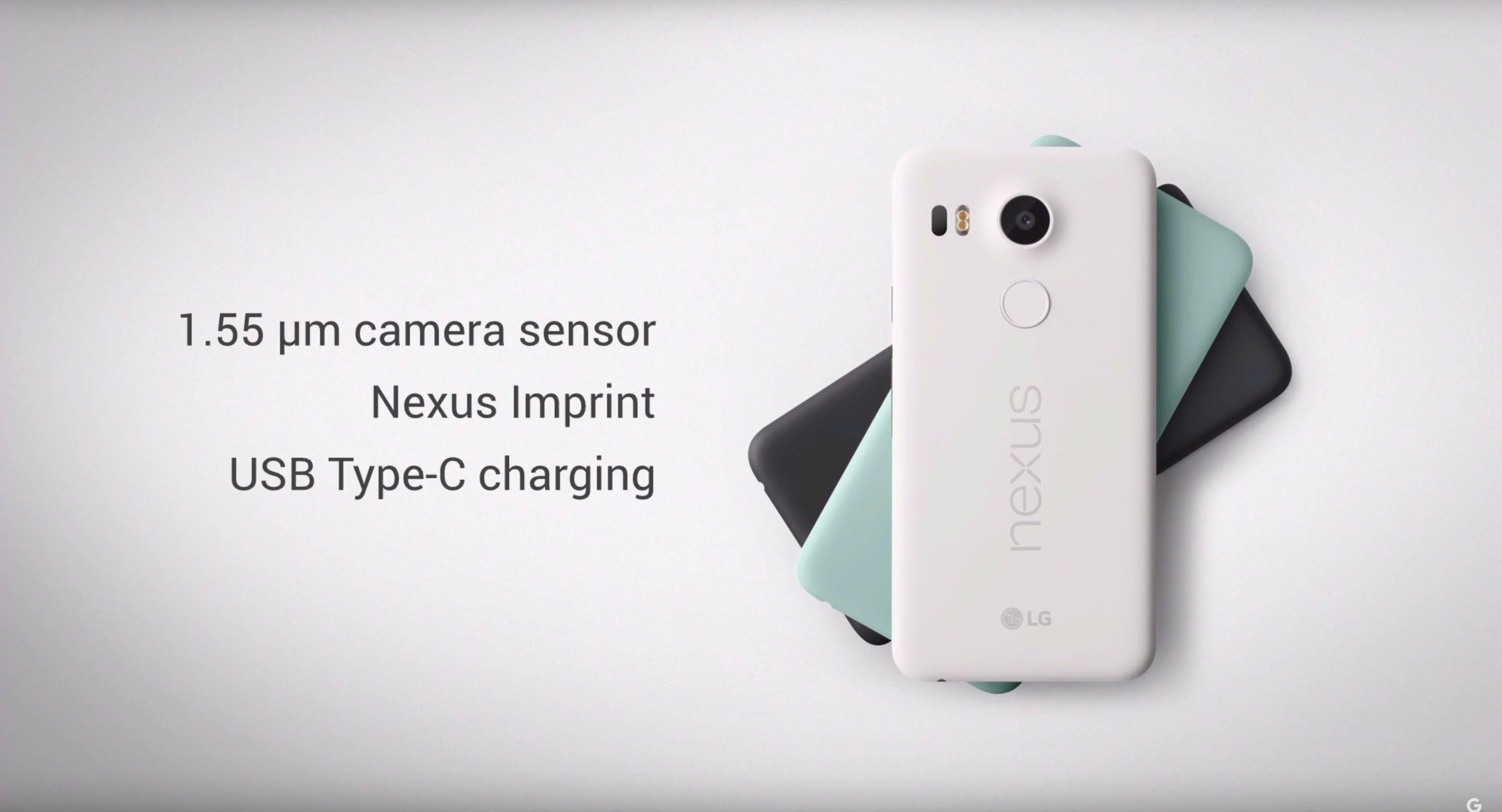 Nexus 5x kommer også i tre (litt mer gøyale) farger. Foto: Skjermdump/Google