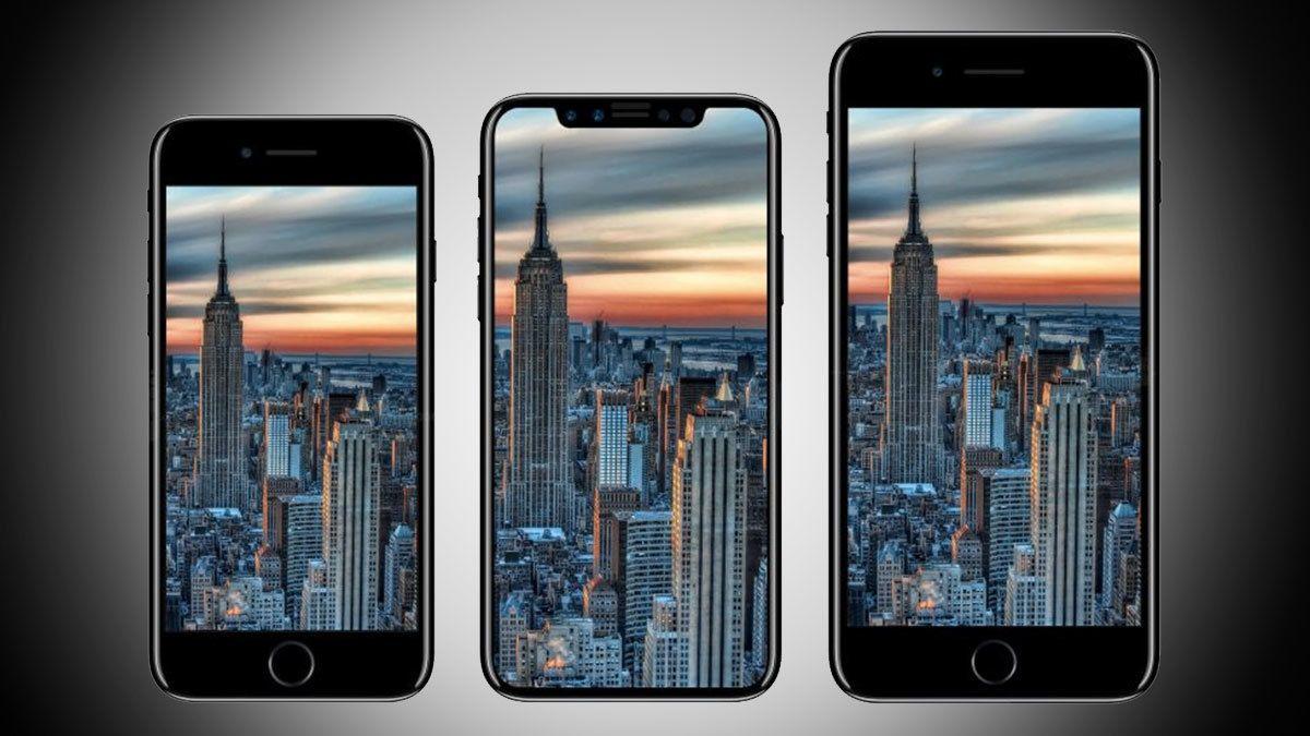 Dagens iPhone 7 og iPhone 7 Plus med den angivelige iPhone 8 i midten.