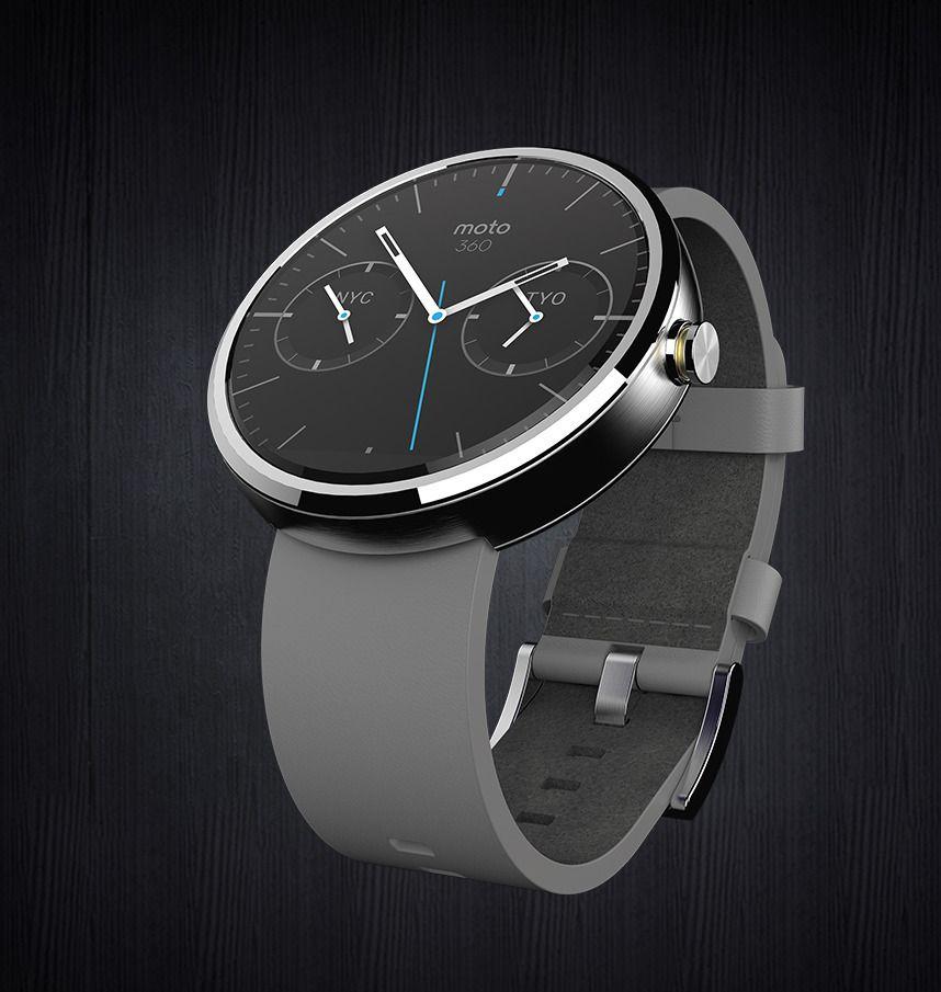 Moto 360 er Motorolas første Android Wear-klokke, og den som ser mest ut som et tradisjonelt armbåndsur av de tre.Foto: Motorola