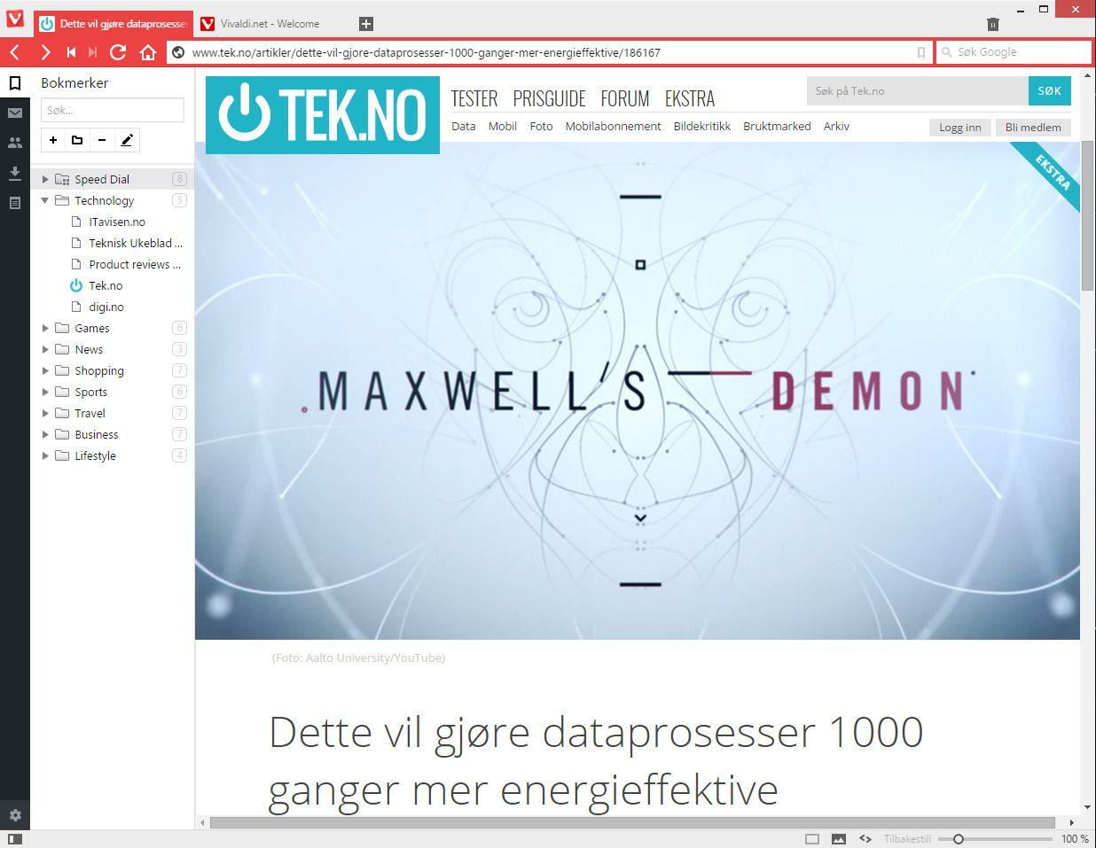 Kudos til Vivaldi-teamet for Tek.no-bokmerket!