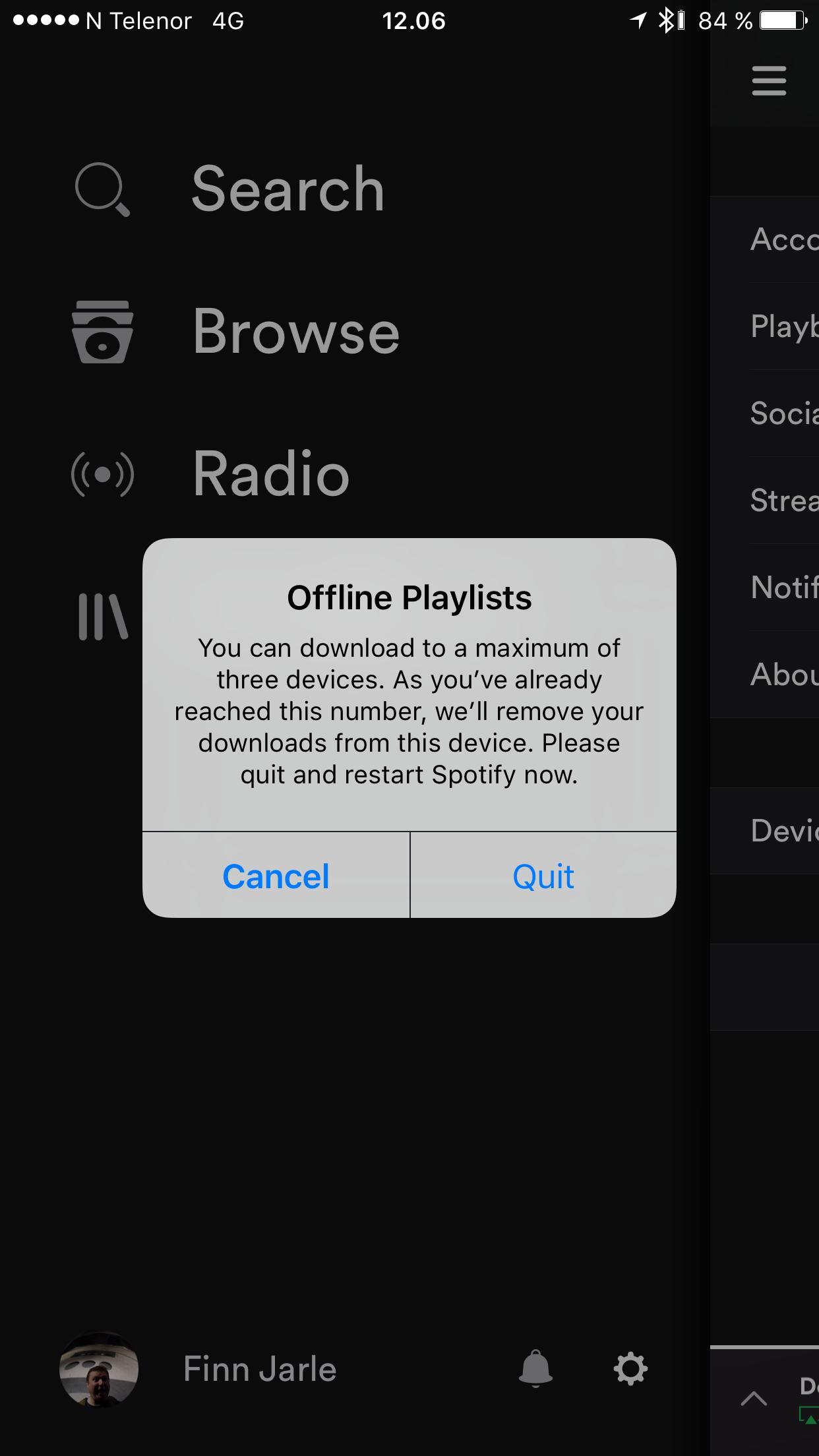 Spotify sletter nedlastet musikk når du bruker for mange enheter. Å bare relisensiere den går ikke. Det er i slike tilfeller det er dobbelt hodebry å måtte lure på hvor mange gigabyte som står igjen på datakvoten.