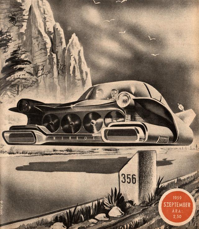Slik så de for seg at svevebiler ville se ut i framtiden, uten puter og stabilisering. Vi venter fortsatt.