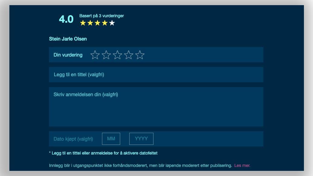 Nå kan du legge inn brukeranmeldelser med tekst på produktsidene her på Tek.no.