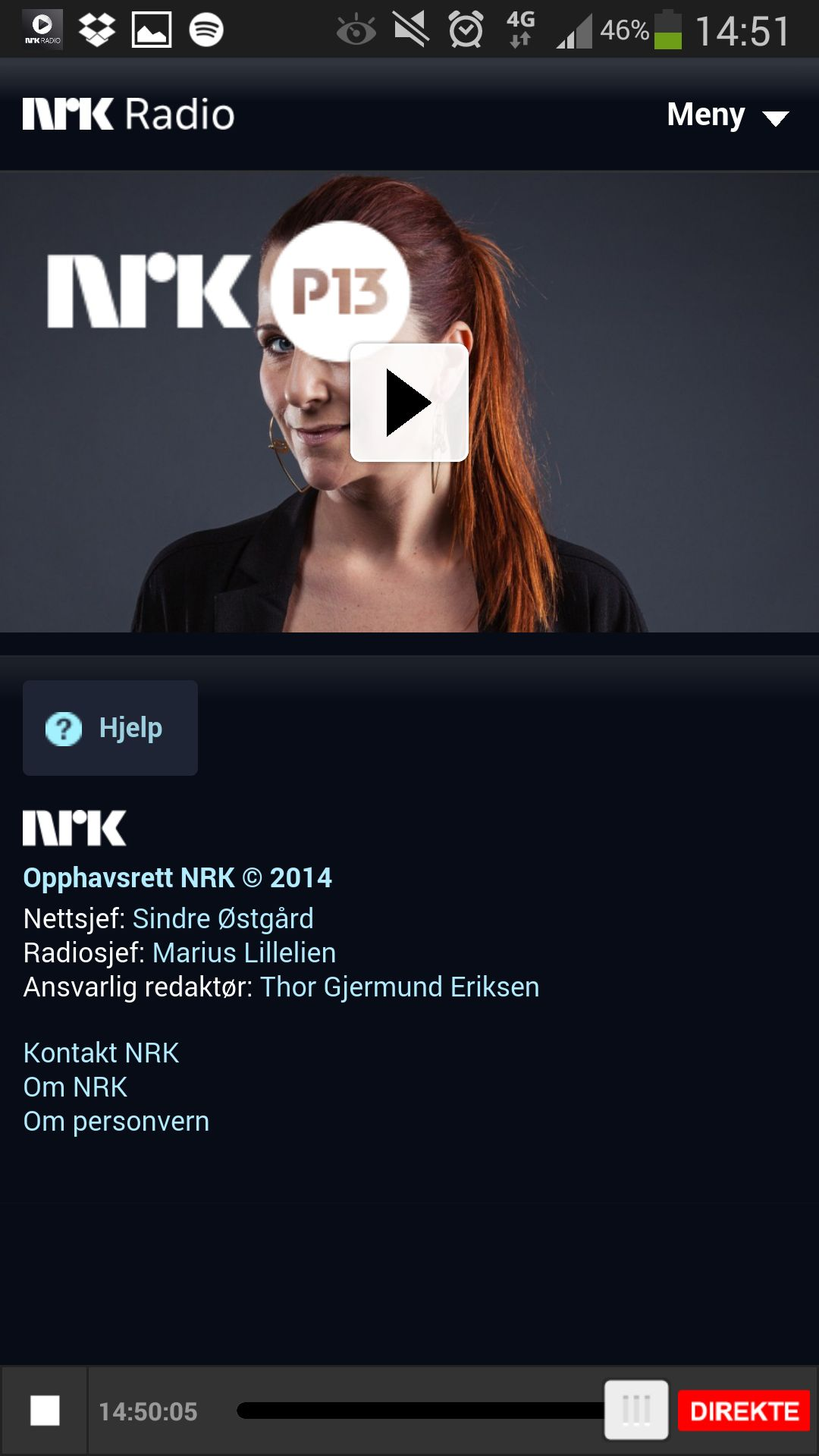 To minutter etterpå, mens jeg jobbet med å få overført forrige skjermdump til skyen, begynte NRK-appen å spille. Det til tross for helt grei 4G-dekning, og ingen problemer med de andre appene.Foto: Finn Jarle Kvalheim, Amobil.no
