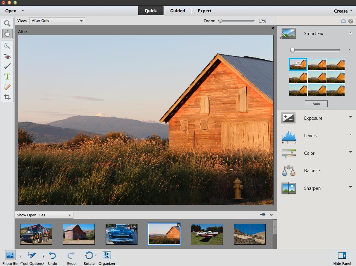 Smartfix-funksjonen i Photoshop Elements 11.Foto: Adobe
