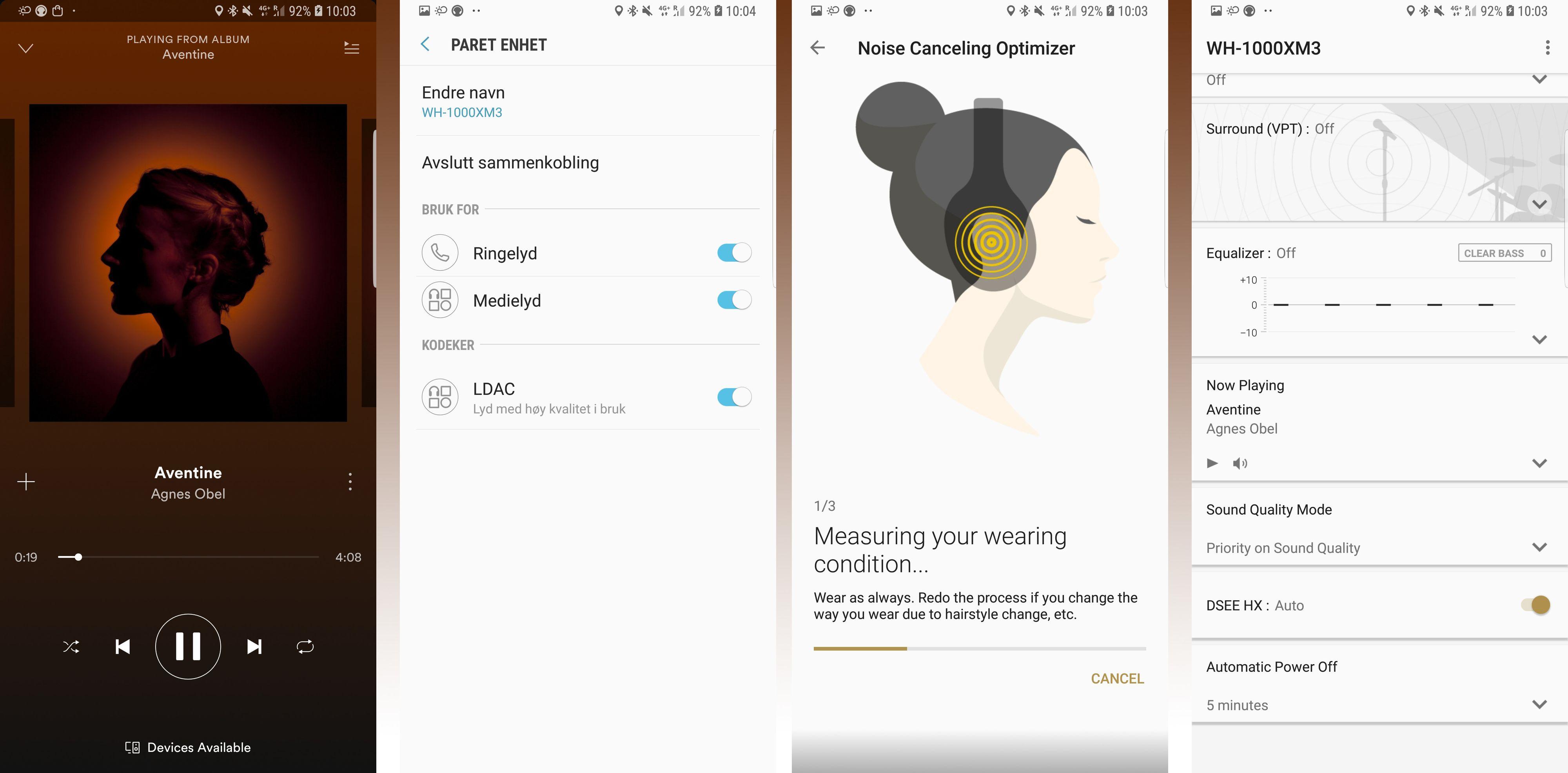 Agnes Obel låter helt fantastisk på disse hodetelefonene. En av de fine tingene her er støtten for LDAC som gir særdeles god lydkvalitet. Som tidligere settes støydempingen opp automatisk i løpet av få sekunder. Du kan dessuten stille på en hel haug ulike lydvalg i appen som hører til - den er oppdatert for 1000X M3, men bruksmessig er den helt lik den gamle..