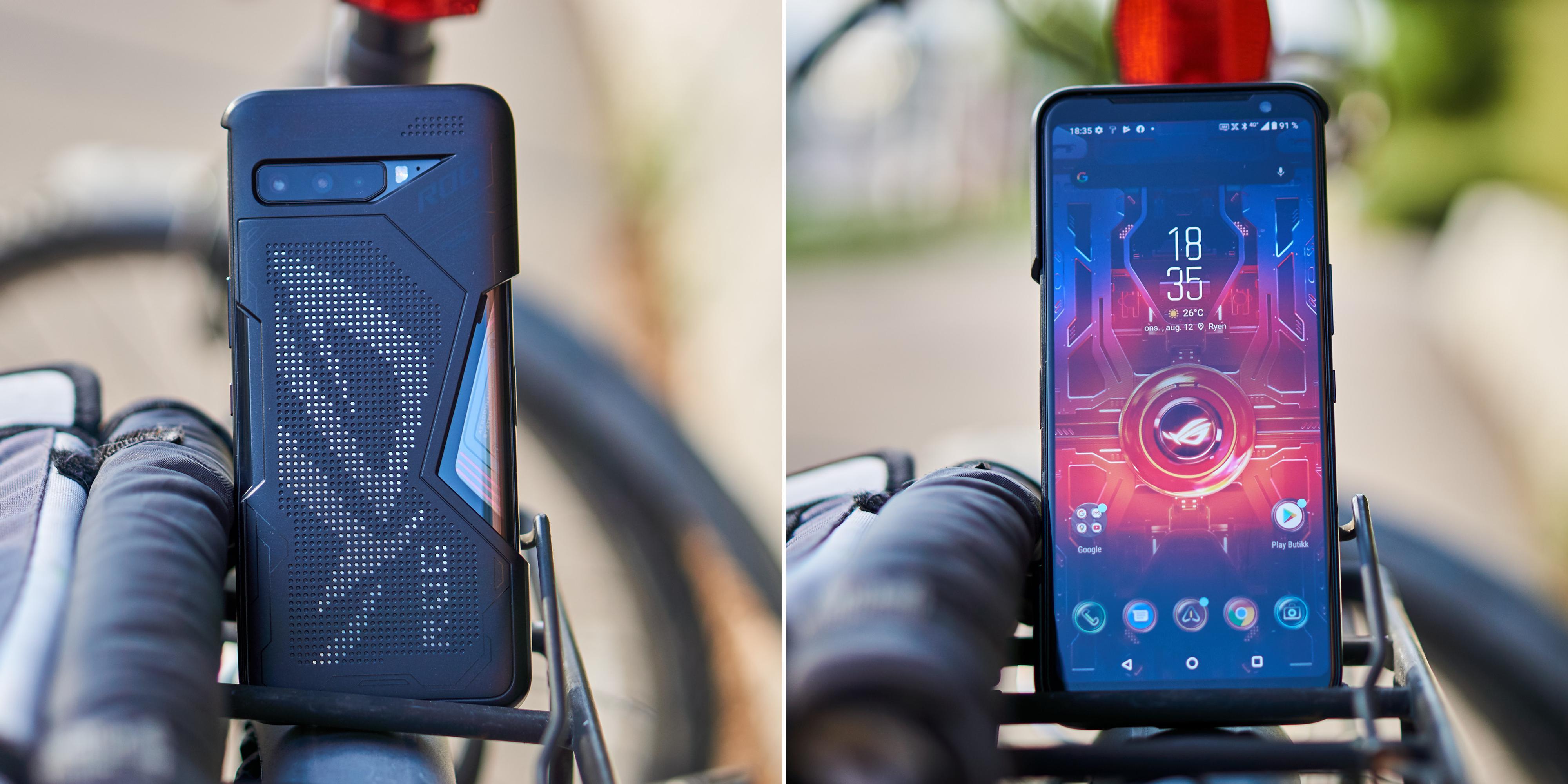 ROG Phone 3 med deksel sett fra baksiden og fronten.