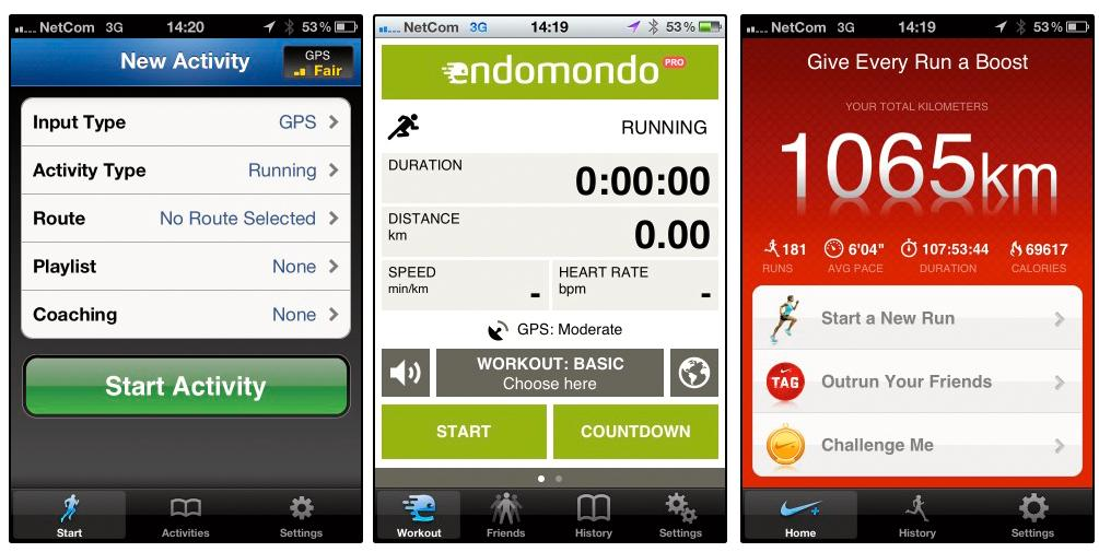 Runkeeper og Endomondo kommer ut best i vår test av treningsapper. Nike+ (lengst til høyre) har forbedringspotensiale, men har et enkelt og greit brukergrensesnitt.