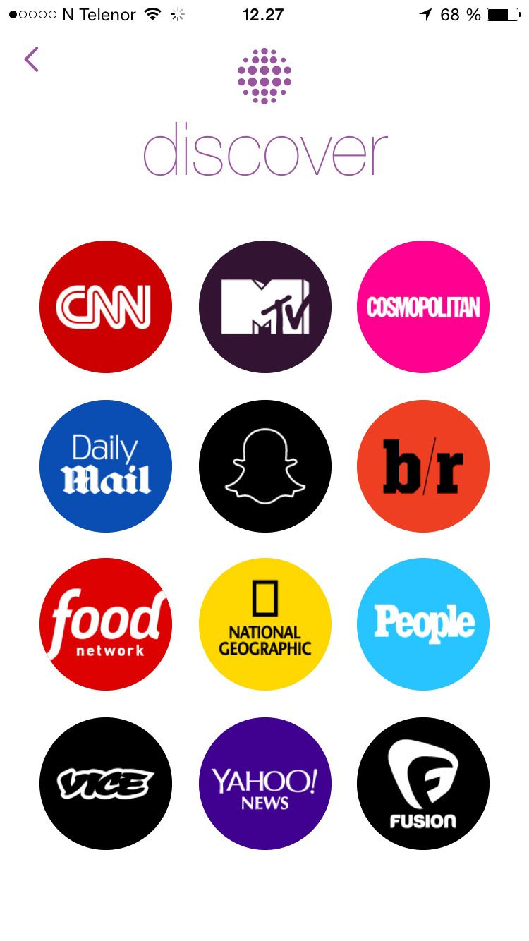 Her er Snapchat-kanalene som foreløpig er tilgjengelig for norske brukere. Foto: skjermbilde