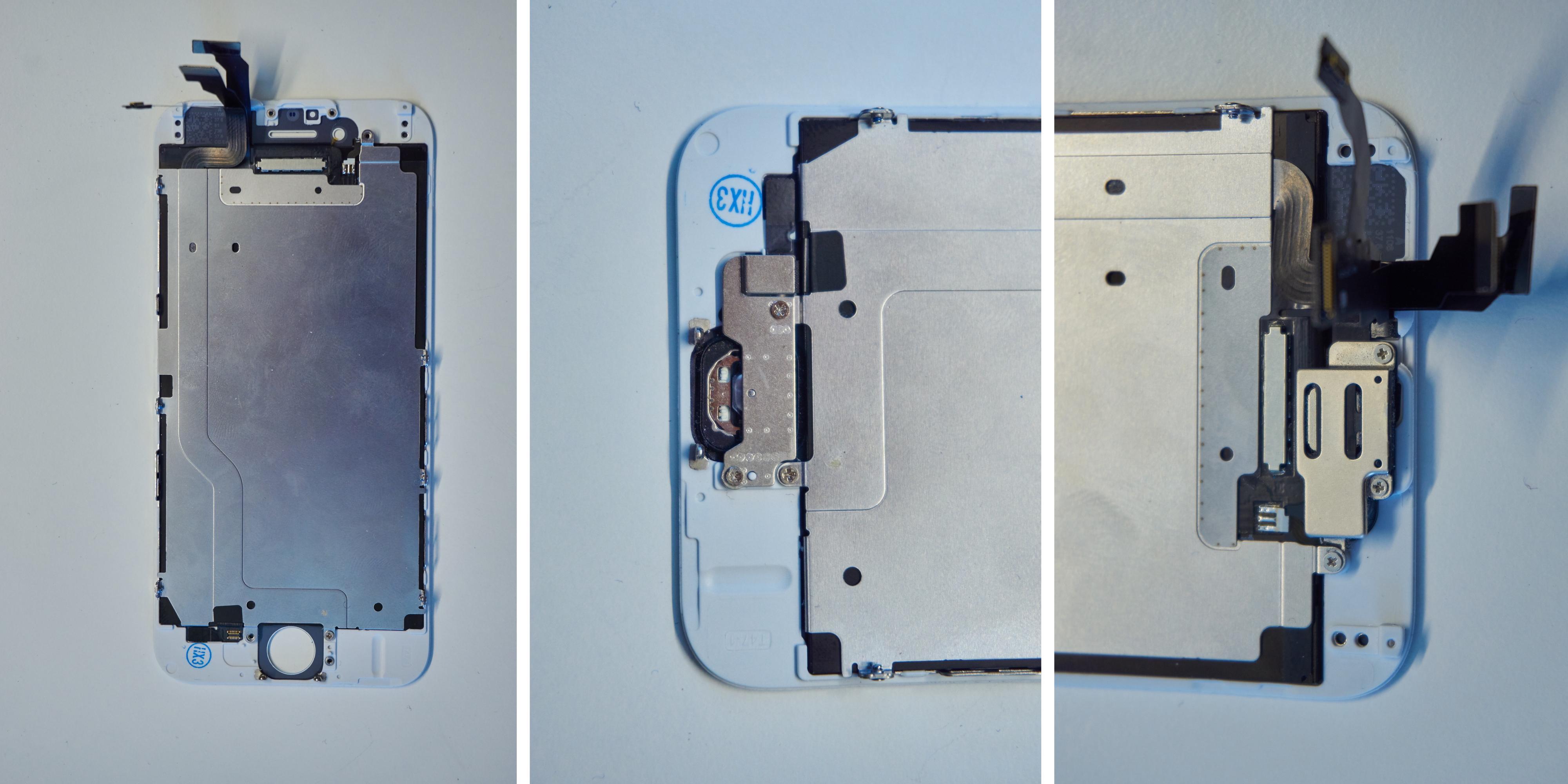 19. Montér LCD-bakdekselet til den nye skjermen 20. Montér hjemknapp-delene 21. Montér frontkameradelene. Spesielt det sistnevnte kan være utfordrende, men med tålmodighet løser det seg til slutt.