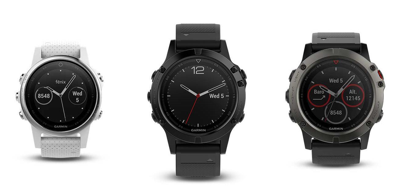 Fra venstre: Fenix 5s, Fenix 5 og Fenix 5X.