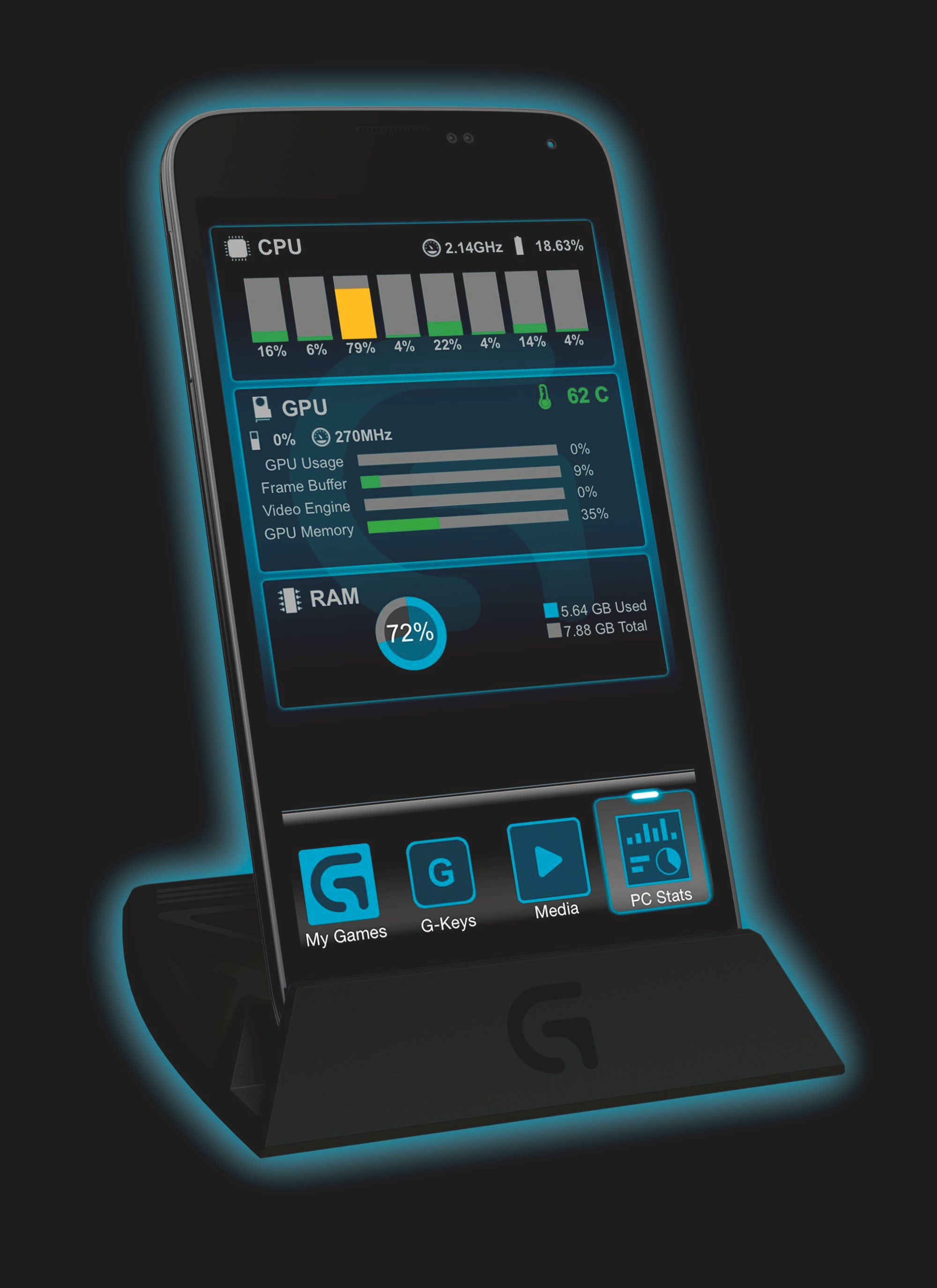 Arx Control på mobilen. Foto: Logitech