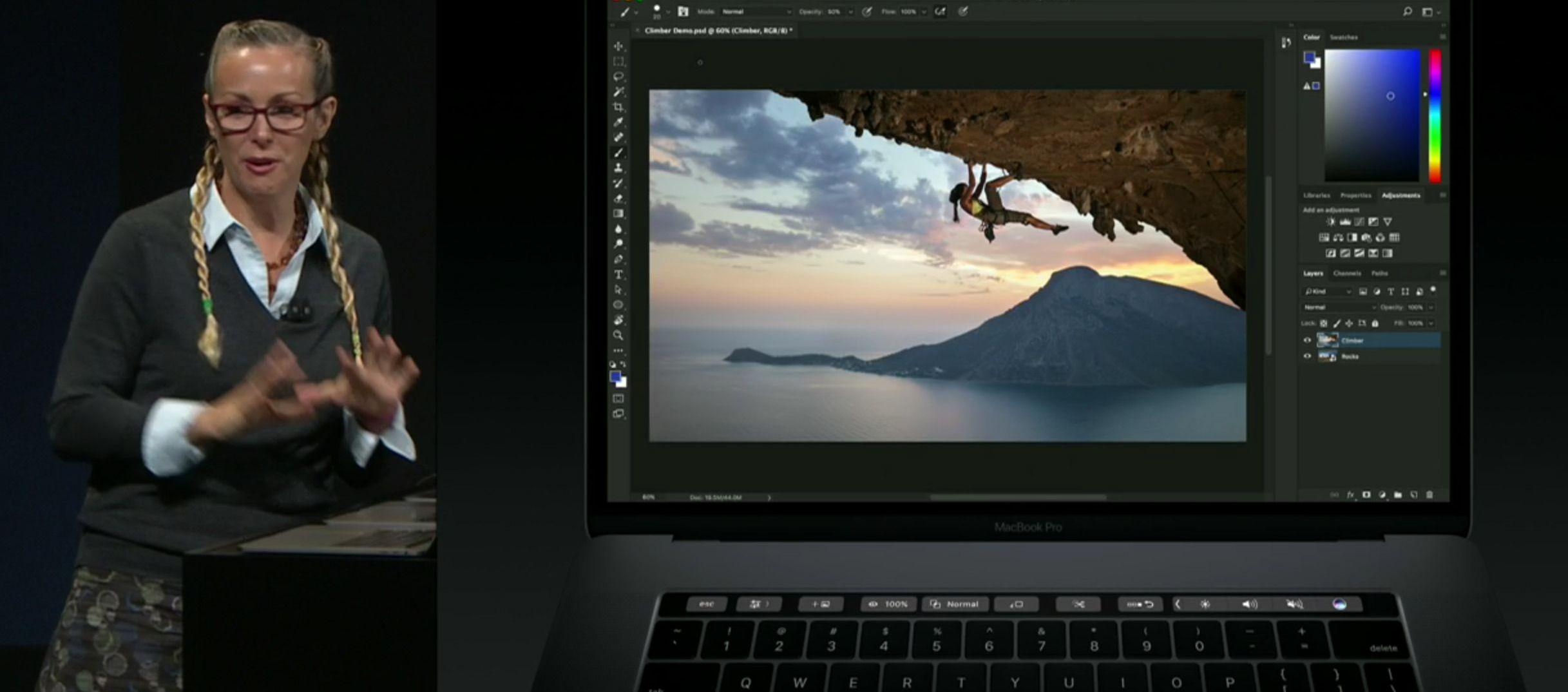 Touch Bar støtter naturligvis også Adobe Photoshop.