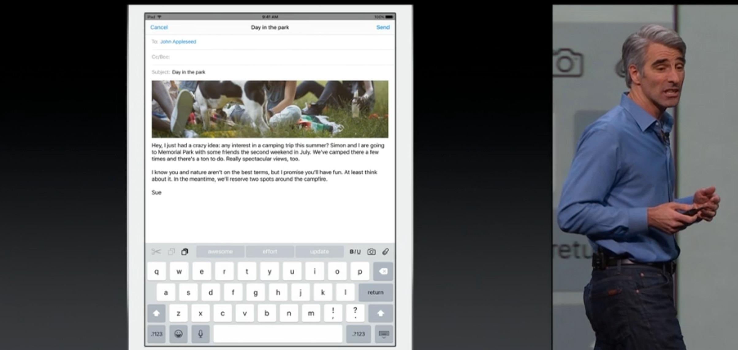 Craig Federighi viser frem tastaturet på iPad med iOS 9.